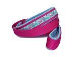 """Agility-Leine zum Überziehen """"Paisley hellblau"""" - individuell verstellbar - Halsung bis 40 cm - Breite ca. 3,3 cm incl. Airmesh-Unterfütterung - Borte Paisley hellblau (15 mm) - Gurtband pink - Airmesh hellblau"""