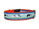 "Halsband mit Klickverschluss ""Border Collie"" - Größe 36,5 - 40,5 cm - Breite ca. 3,3 cm incl. Airmesh-Unterfütterung - Borte Border Collie (18 mm) - Gurtband hellblau (25 mm) - Airmesh orange"
