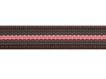 Gurtband braun-rosa - 20 mm - beidseitig gummiert