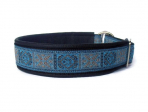Bollywood blau-silber - Zugstopp - Breite ca. 3,2 cm incl. Lederunterfütterung