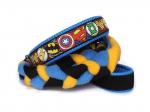 Agility-Zergelleine Superhero blau-gelb - Leinenteil aus hochwertigem Fleece (meerblau und gelb) und Gurtband (schwarz) geflochten - Halsung mit Borte Superhero versehen - Halsung und Handschlaufe mit blauem Airmesh unterfüttert