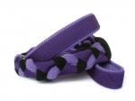 Agility-Zergelleine Lila-Schwarz - Leinenteil aus hochwertigem Fleece (flieder und schwarz) und Gurtband (lila) geflochten - Halsung und Handschlaufe mit fliederfarbenem Airmesh unterfüttert