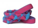Agility-Zergelleine Pink-Flieder-Türkis - Leinenteil aus hochwertigem Fleece (flieder und türkis) und Gurtband (pink) geflochten - Halsung und Handschlaufe mit fliederfarbenem Airmesh unterfüttert