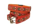 Halsband-Leinen-Set Pinwheel rot-orange