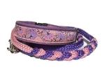 Halsband-Leinen-Set Asia mit teilgeflochtener Hollandleine in lila-rosa