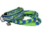 Halsband-Leinen-Set Iguanarama mit teilgeflochtener Hollandleine in neongrün-Electric Blue