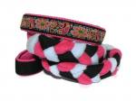 """Agility-Zergelleine """"Flower + Paisley"""" - Halsung bis 44 cm - Breite ca. 3,3 cm incl. Airmesh-Unterfütterung (Halsung und Handschlaufe) - Gurtband schwarz (25 mm) - Fleece pink und hellblau - Airmesh pink"""