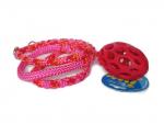Agilityleine (teilgeflochten Candy-Stick mit pink) mit JW HOL-EE-Gitter-Football Größe Small (11,5 x 6,5 cm) - Gesamtlänge 1,50 m (ohne Gitter-Football)