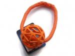 Vollgummi-Gitterball in orange (Durchmesser 7 cm) - mit Band (orange) EUR 10,00