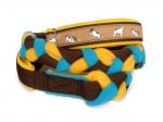 """Agility-Zergelleine """"Terrierpower beige"""" - Halsung bis 34 cm - Breite ca. 3,3 cm incl. Airmesh-Unterfütterung (Halsung und Handschlaufe) - Gurtband braun (25 mm) - Fleece gelb und türkis - Airmesh gelb"""