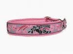 """Zugstopp """"Japanblüte pink"""" - individuell verstellbar - Halsumfang bis 42 cm - Breite ca. 3,2 cm incl. Airmesh-Unterfütterung - Gurtband bordeaux (25 mm) - Airmesh rosa"""