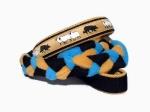 Agility-Zergelleine Hütehund - Leinenteil aus hochwertigem Fleece (kamel und meerblau) und Gurtband (schwarz) geflochten - Halsung mit Borte Hütehund versehen - Halsung und Handschlaufe mit goldbeigefarbenem Airmesh unterfüttert
