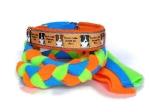 Aglity-Zergelleine Border Collie - Simply the Best! - Leinenteil aus hochwertigem Fleece (neonorange und neongrün) und Gurtband (blau) geflochten - mit Airmeshunterfütterung (orange) in der Halsung - Halsung mit Ripsband