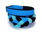 Agility-Zergelleine blau-schwarz-helltürkis - Leinenteil aus hochwertigem Fleece (schwarz und helltürkis) und Gurtband (blau) geflochten - Halsung und Handschlaufe mit schwarzem Airmesh unterfüttert