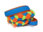 Agility-Zergelleine blau-orange-neongrün - Leinenteil aus hochwertigem Fleece (neongrün und neonorange) und Gurtband (blau) geflochten - Halsung und Handschlaufe mit orangefarbenem Airmesh unterfüttert