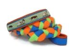 Agility-Zergelleine Kelpie blau-orange - Leinenteil aus hochwertigem Fleece (neongrün und neonorange) und Gurtband (blau) geflochten - Halsung mit Borte Kelpie versehen - Halsung und Handschlaufe mit orangefarbenem Airmesh unterfüttert