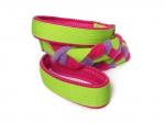 Agility-Zergelleine hellgrün-pink-flieder - Leinenteil aus hochwertigem Fleece (pink und flieder) und Gurtband (hellgrün) geflochten - Halsung und Handschlaufe mit pinkfarbenem Airmesh unterfüttert