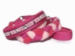 Agility-Zergelleine Schafe mäh rosa - Leinenteil aus hochwertigem Fleece (pink und rosa) und Gurtband (pink) geflochten - Halsung mit Borte Schafe mäh rosa versehen - Halsung und Handschlaufe mit pinkfarbenem Airmesh unterfüttert