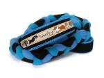 Agility-Zergelleine Sheltiepower - Leinenteil aus hochwertigem Fleece (meerblau und türkis) und Gurtband (schwarz) geflochten - Halsung mit Borte Sheltiepower versehen - Halsung und Handschlaufe mit blauem Airmesh unterfüttert