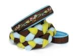 Agility-Zergelleine Eulchen braun - Leinenteil aus hochwertigem Fleece (hellblau und kiwi) und Gurtband (braun) geflochten - Halsung mit Borte Eulchen braun versehen - Halsung und Handschlaufe mit hellblauem Airmesh unterfüttert