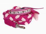 """Halsband-Leinen-Set """"Lovely Skulls rosa"""" - mit geflochtener Leine (Gurtband - Fleece rosa und pink) ohne Handschlaufe mit Karabiner"""