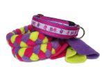 """Halsband-Leinen-Set """"Eulalia flieder"""" - mit geflochtener Leine (Fleece kiwi, flieder und pink) ohne Handschlaufe mit Karabiner"""