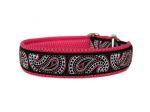 """Zugstopp """"Maxi-Paisley"""" - individuell verstellbar - Halsumfang bis 41 cm -Breite ca. 3,3 cm incl. Airmesh-Unterfütterung - Gurtband schwarz (25 mm) - Airmesh pink"""