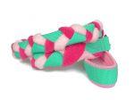 Zergelleine mit Handschlaufe und Karabiner - Gesamtlänge ca. 1,15 m (incl. Karabiner) - Gurtband mint - Fleece rosa und pink - Airmesh rosa