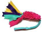 Fluffy pink-mint - Zergelspielzeug mit ruckdämpfendem Bungeegriff von Dogscraft (ohne Quietschi) - Gesamtlänge ca. 80 cm