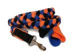 Fleece-Zergelleine mit Karabiner (ohne Handschlaufe) - Gesamtlänge ca. 1,50 m (incl. Karabiner) - Fleece scharz, hellorange und royalblau
