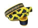 """Agility-Zergelleine """"Füchslein marine-grün"""" - Leinenteil aus hochwertigem Fleece (gelb und kiwi) und Gurtband (dunkelblau) geflochten - Halsung mit Borte Füchslein marine-grün versehen - Halsung und Handschlaufe mit gelbem Airmesh unterfüttert"""