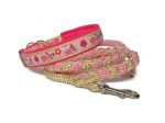 Halsband-Leinne-Set Butterfly mit teilgeflochtener Hollandleine in Rosa-Shiny Gold