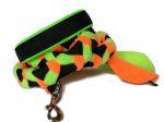 Halsband-Leinen-Set schwarz-neongrün-neonorange mit geflochtener Leine (Gurtband schwarz - Fleece neongrün und neonorange ) ohne Handschlaufe mit Karabiner