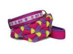 Halsband-Leinen-Set Eulalia flieder mit geflochtener Leine (Gurtband pink - Fleece flieder und kiwi - Airmesh lila) mit Handschlaufe und Karabiner