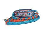 Halsband-Leinen-Set You`ll never walk alone mit teilgeflochtener Hollandleine in Ocean-blue/orange