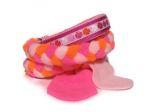 """Agility-Zergelleine """"Glücksklee rosa"""" - Leinenteil aus hochwertigem Fleece (neonorange, neonpink und rosa) geflochten - mit Airmeshunterfütterung (rosa) in der Halsung - Halsung mit Borte Glücksklee rosa versehen - ohne Handschlaufe"""