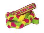 Agility-Zergelleine zum Überziehen - Eule HouHou pink-grün - Halsung bis 36,5 cm