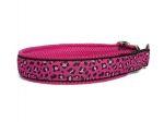 "Zugstopp ""Pink Leo"" - individuell verstellbar - Halsumfang bis 43,5 cm - Breite ca. 3,3 cm incl. Airmesh-Unterfütterung - Gurtband schwarz (25 mm) - Airmesh pink"