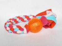 TPR-Ball (6 cm) mit Fleecezergel (35 cm zzgl. Fransen) - Fleece orange/pink/rosa/helltürkis