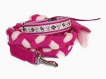 Set Nummer 159 mit geflochtener Leine (Gurtband pink - Fleece rosa und pink) ohne Handschlaufe mit Karabiner