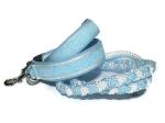 Halsband-Leinen-Set Spitzenwerk hellblau-weiss mit teilgeflochtener Hollandleine in hellblau-weiss