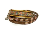 Halsband-Leinen-Set Flower-Power mit teilgeflochtener Hollandleine in braun/flowerpower