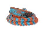 Halsband-Leinen-Set Japanblüte türkis mit teilgeflochtener Hollandleine in orange/ocean