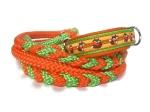 Halsband-Leinen-Set Füchslein gelb/orange mit teilgeflochtener Hollandleine in orange/neongrün