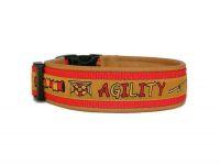 """""""Agility hellbraun"""" - Größe 40 - 43 cm - Breite ca. 3,3 cm incl. Lederunterfütterung - Gurtband rot (25 mm) - Leder hellbraun"""