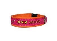 """Agility pink""  - Größe 35 - 38 cm - Breite ca. 2,9 cm incl. Lederunterfütterung - Gurtband pink (20 mm) - Leder orange"