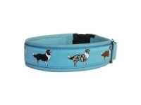 """""""Australien Shepherd blau"""" - Größe 38 - 41 cm - Breite ca. 3,3 cm incl. Lederunterfütterung - Gurtband hellblau (25 mm) - Leder hellblau"""