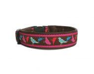 """""""Birdies braun-pink"""" - Größe 33 - 36 cm - Breite ca. 2,7 cm incl. Lederunterfütterung  - Gurtband pink (20 mm) - Leder braun"""