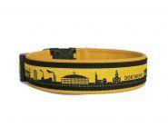 """""""Dortmund gelb-schwarz"""" - Größe 43 - 46 cm - Breite ca. 3,2 cm incl. Lederunterfütterung - Gurtband schwarz (25 mm) - Leder gelb"""