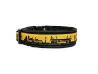 """""""Dortmund schwarz-gelb"""" - Größe 33 - 36 cm - Breite ca. 2,8 cm  incl. Lederunterfütterung - Gurtband schwarz (20 mm) - Leder schwarz"""